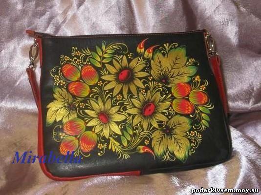 Кожаная сумка с росписью