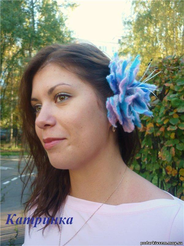 """Валяный цветок """"Пион"""""""