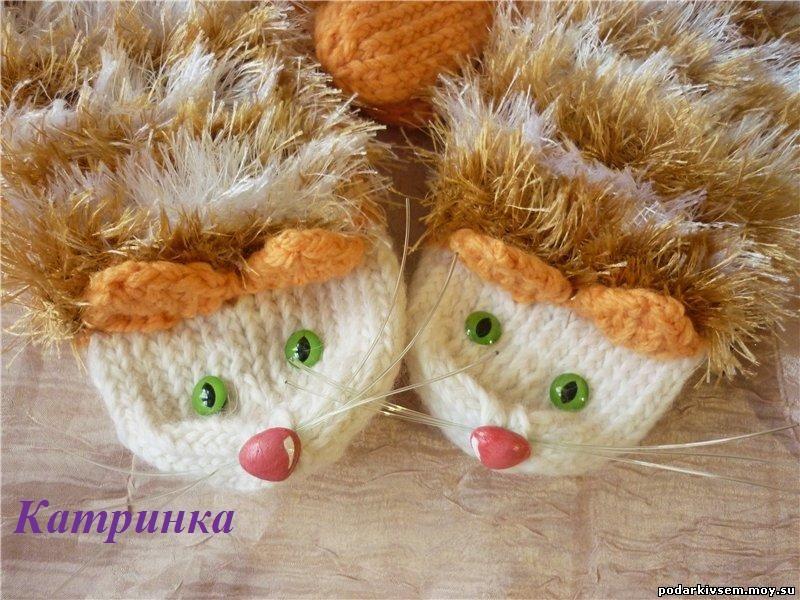 """Варежки-Котики """"Зеленоглазые Рыжики"""""""